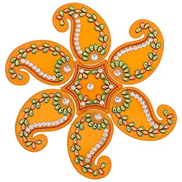 Buy One Roof Store Acrylic Rangoli Set 16 Cm X 10 Cm X 3 Cm Set Of 7 Online At Low Prices In India Amazon In