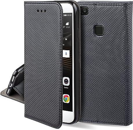 Moozy Cover per Huawei P9 Lite, Nero - Custodia a Libro Flip Smart Magnetica con Appoggio e Porta Carte