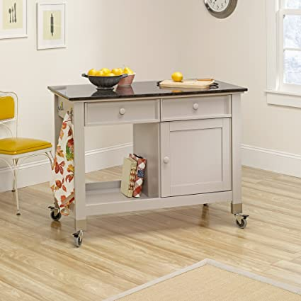 Delicieux Sauder 414405 Mobile Kitchen Island, Cobblestone Finish