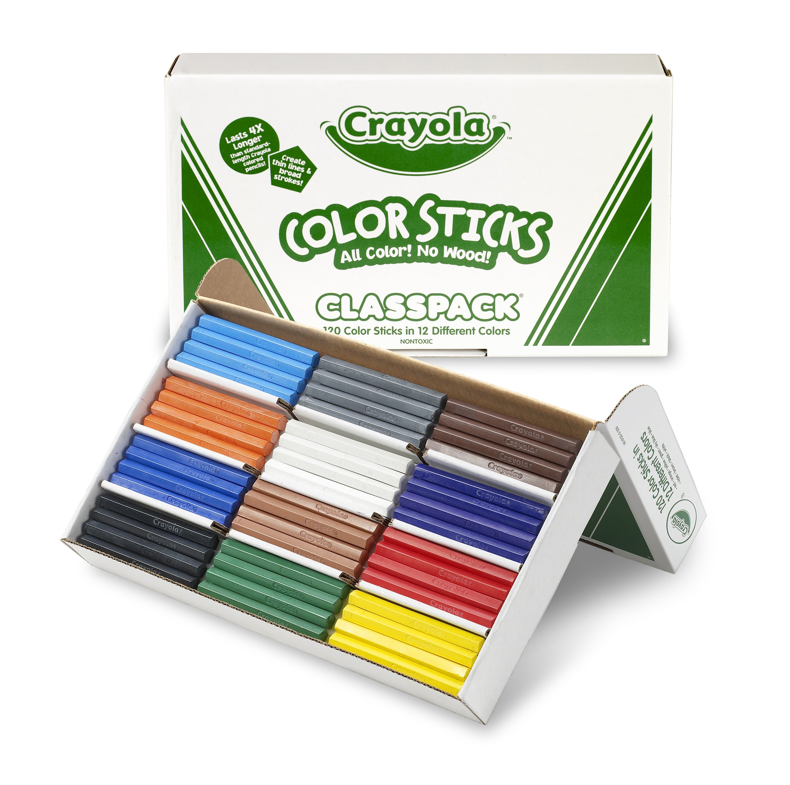 Lápices de colores Crayola sin madera a granel, paquete de 120 unidades, 12 colores surtidos