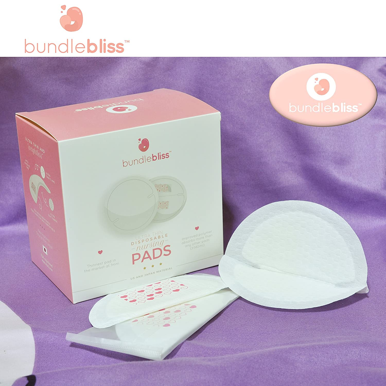 Bundlebliss/Þ/Disposable Ultra Thin Nursing Breast Pads 60 Highly Absorbent Breastfeeding Milk Pads Thinnest Pad Ever