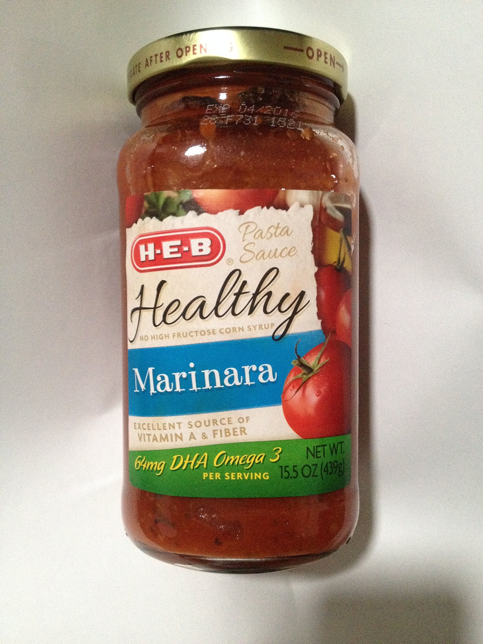 HEB ''Healthy'' (No High Fructose Corn Syrup) Pasta Sauce, Marinara, 15.5 Oz Jar, (Pack of 2)