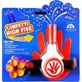 FiestaFive - Confetti High Five HandHeld Toy Shooter with 6 Refills - Blast Confetti From Your Hands, Reloadable, Patented Perfect High Five Design, Safe Air Powered Party Favor - Red/White