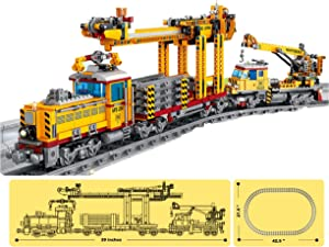 inFUNity Motorized Military Trains Set with Lights and Complete Train Track Compatible with Leading Brands (Track Constructor 1270 Pieces)