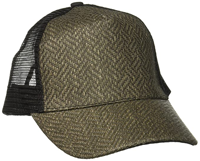 e5e84a80669e2 Rampage Women s Patterned Straw Baseball Cap with Mesh Back