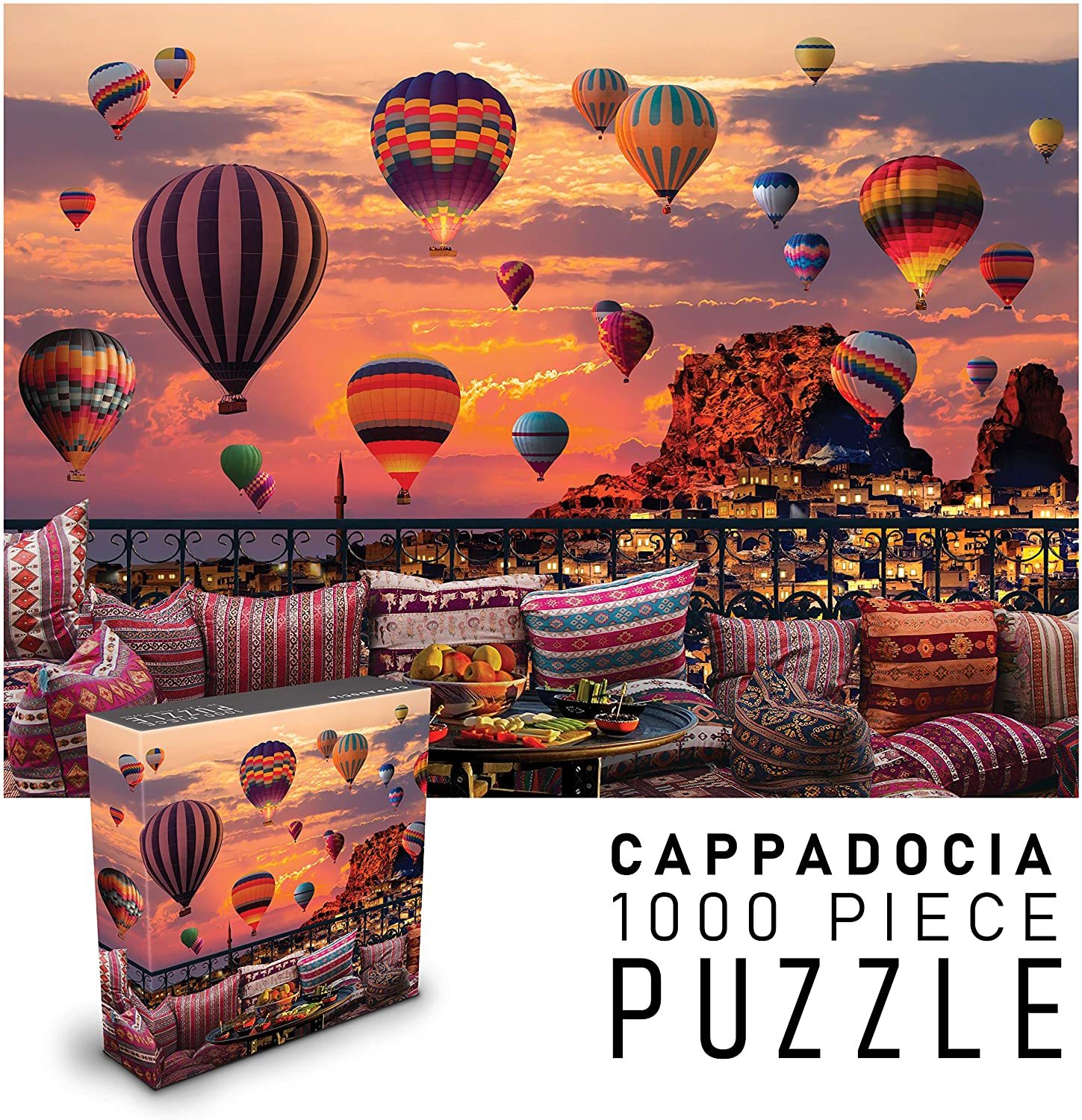 "Puzzles for Adults 1000 Piece Jigsaw Puzzle | Cappadocia Hot Air Balloons at Sunset | Landscape Nature Puzzles | 27"" w x 20"" h"