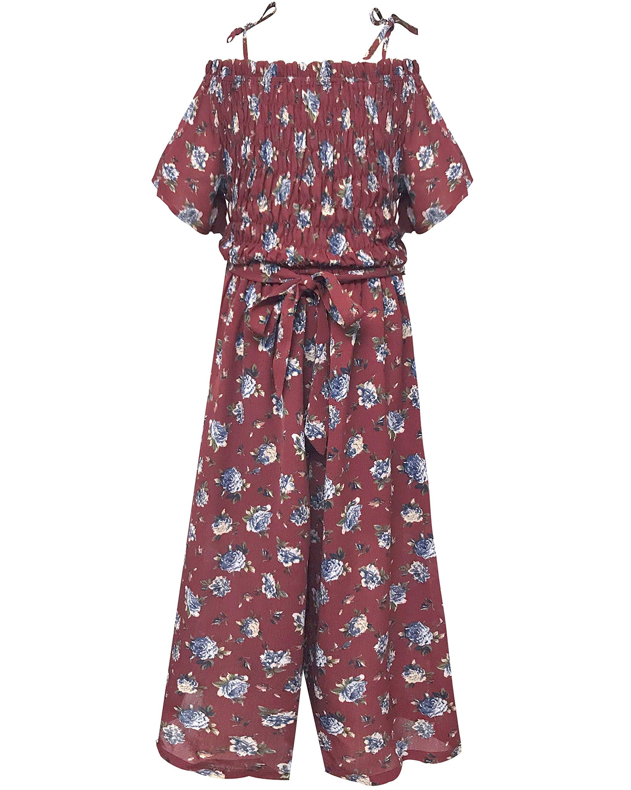 Smukke, Big Girls Tween Floral Printed Jumpsuits (Many Options), 7-16 (Burgundy Multi, 8)