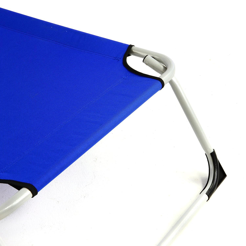 Nexos ZGC34367_SL2 2er 2er 2er Set Gartenliege Camping Liege 190x63x28 cm mit Kopfkissen Sonnenliege klappbar 4fach verstellbar Stahlrohrrahmen grau Dreibeinliege Wetterfest robust stabil 8dca00
