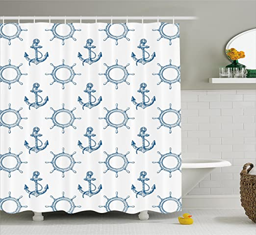 Shower Curtain Anchor Patterns Navy and Blue Nautical Decor 70 Inches Long