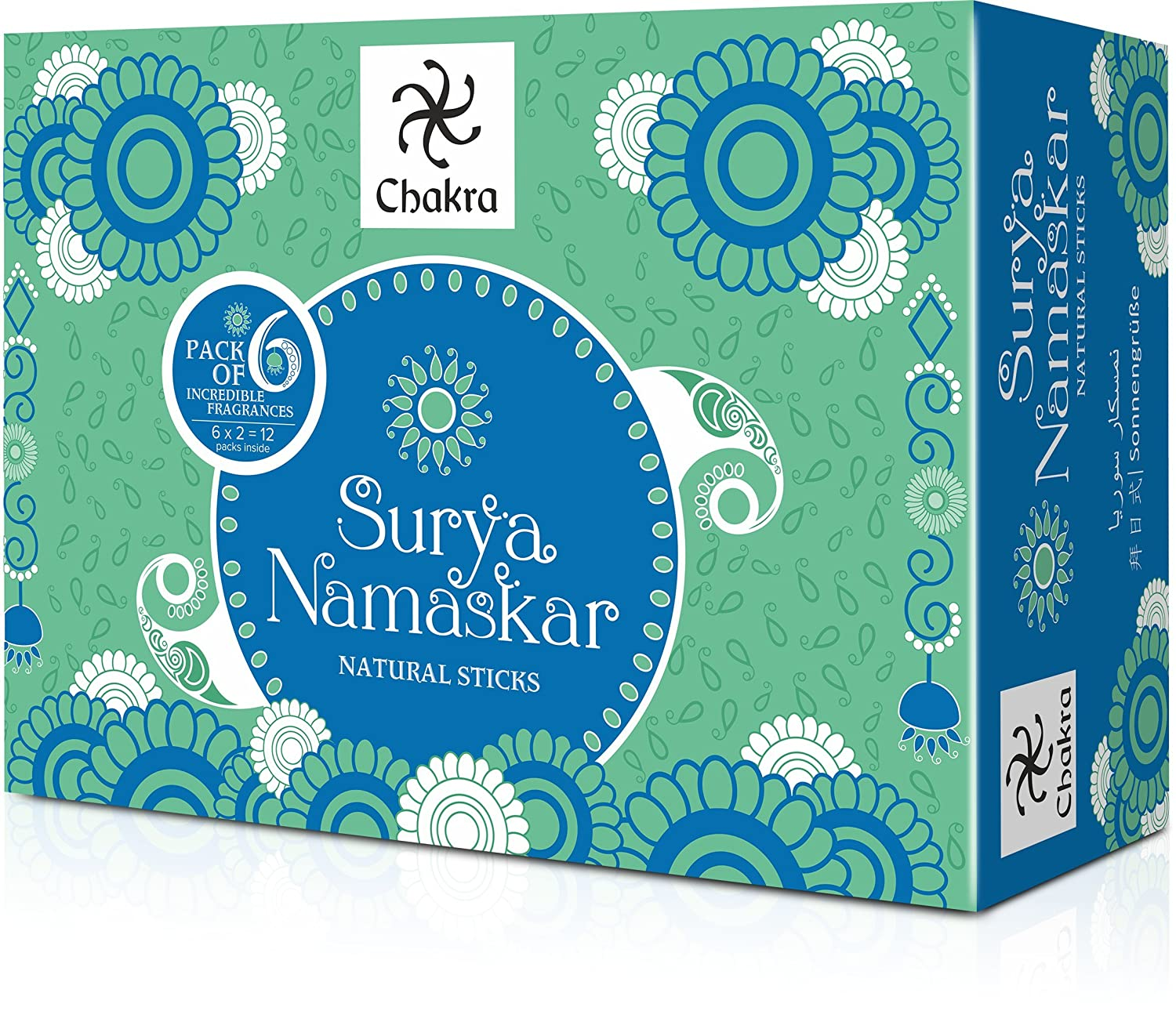 Chakra Surya Namaskar Long Lasting Incense Sticks- 6 Fragrance - Made from Natural Essential Oils & Herbal Ingredients- Inspired by Yoga Aasanas- Effective for Meditation and Yoga-Pack of 12