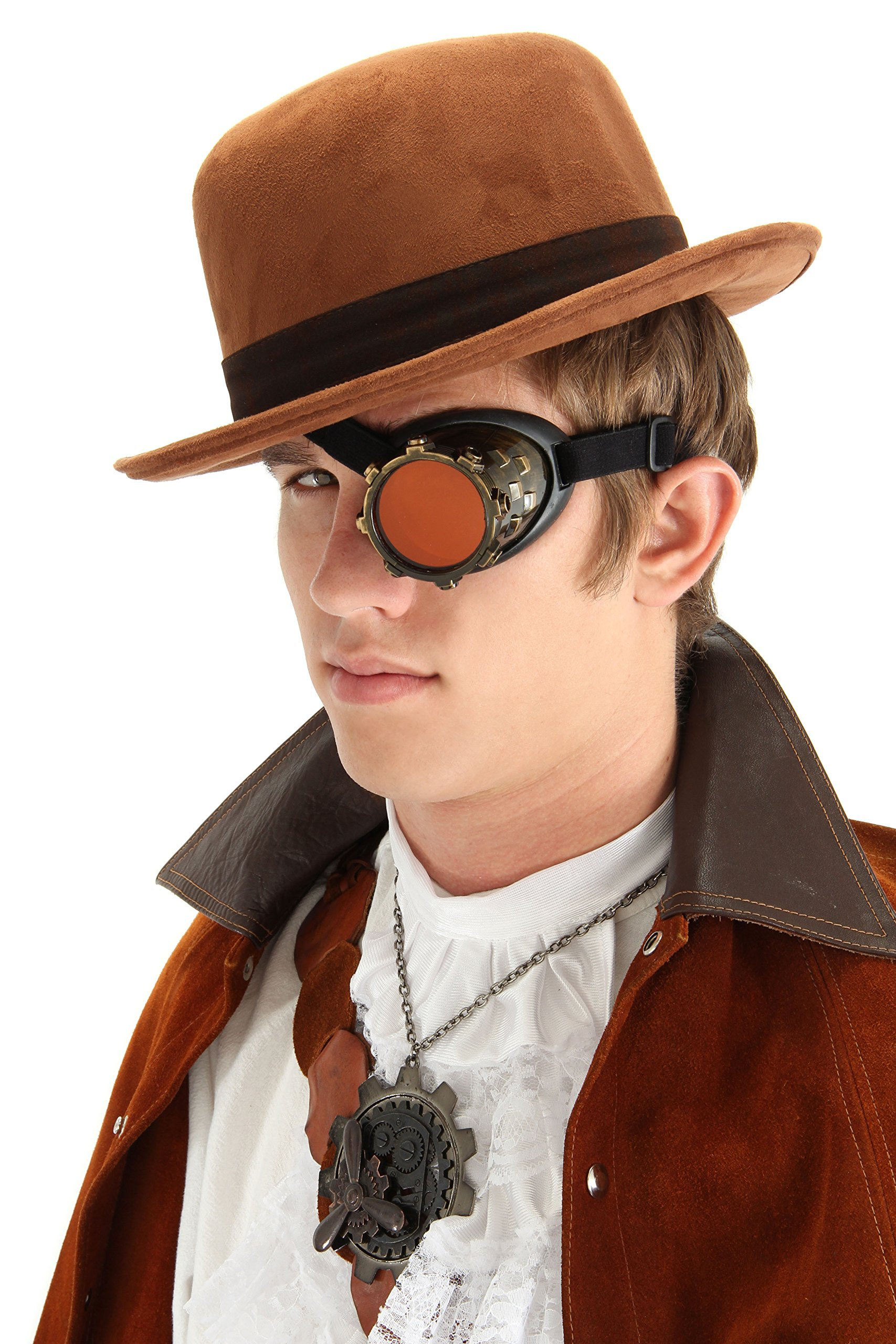 Gold Steampunk Costume Goggle Eyepatch Monocle by elope
