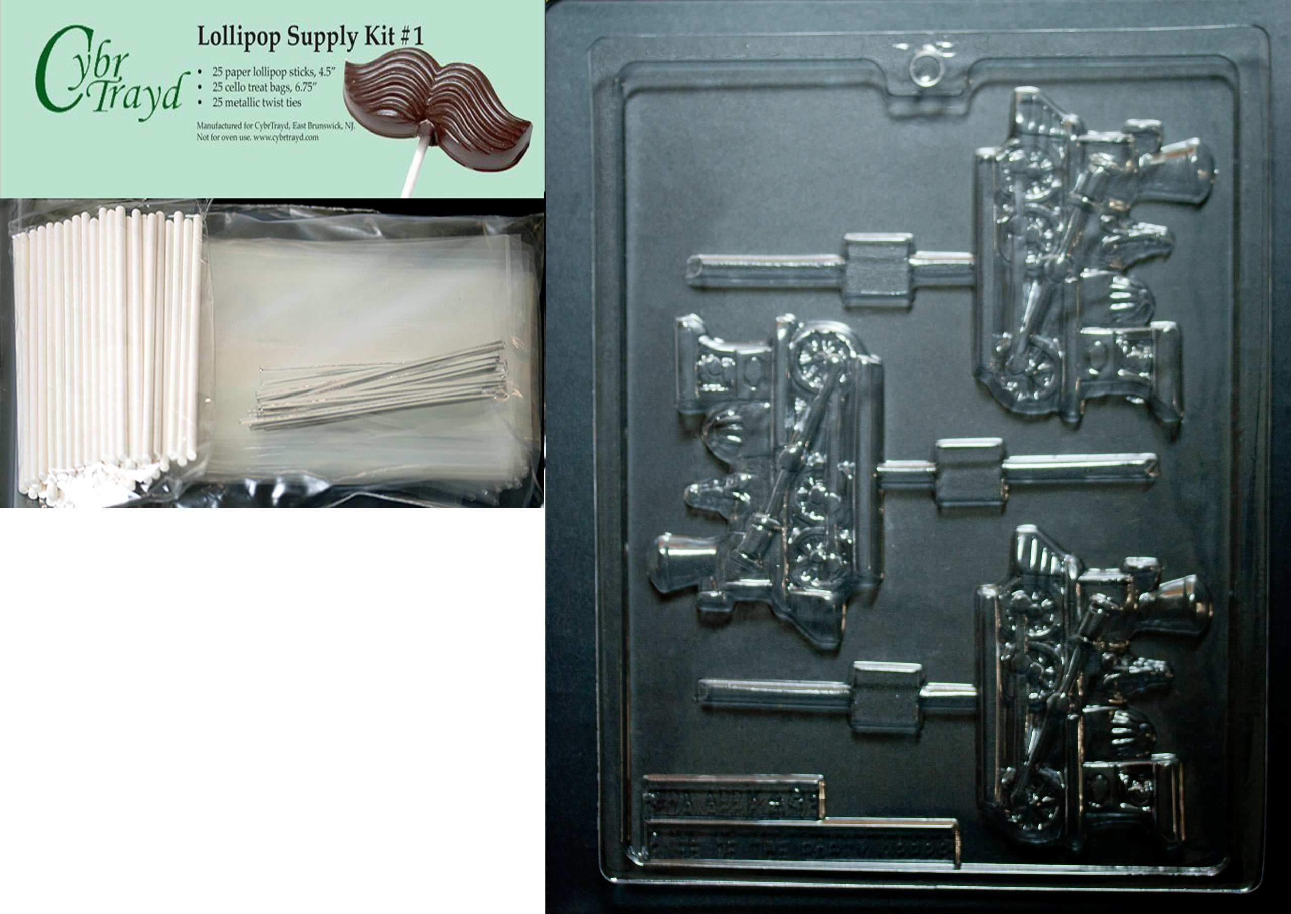Cybrtrayd 45StK25S-K049 Train Engine Lolly Kids Chocolate Candy Mold with Lollipop Supply Bundle, Includes 25 Lollipop Sticks, 25 Cello Bags, 25 Silver Twist Ties, Instructions