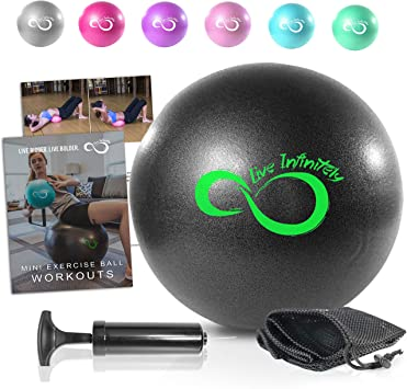 9 Inch Barre Pilates Ball & Hand Pump– Anti Burst Mini Ball & Digital Workout eBook Included For Yoga, Exercise, Balance & Stability Training – Comes ...