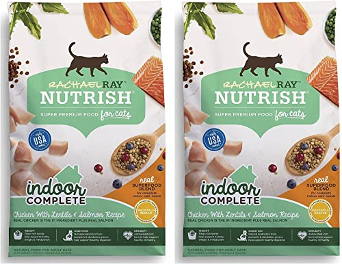 Nutrish Rachael Ray Indoor Complete Natural Dry Cat Food, Chicken with Lentils Salmon Recipe, 3 lbs Pack of 2