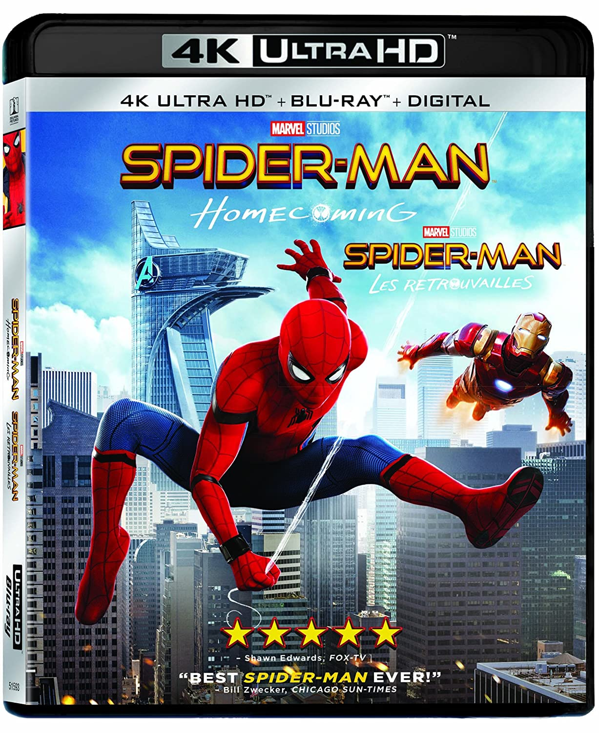 Spider-Man Homecoming (2 Discs) - 4K UHD [Blu-ray] (Bilingual) Tom Holland Robert Downey Jr. Michael Keaton Jon Watts