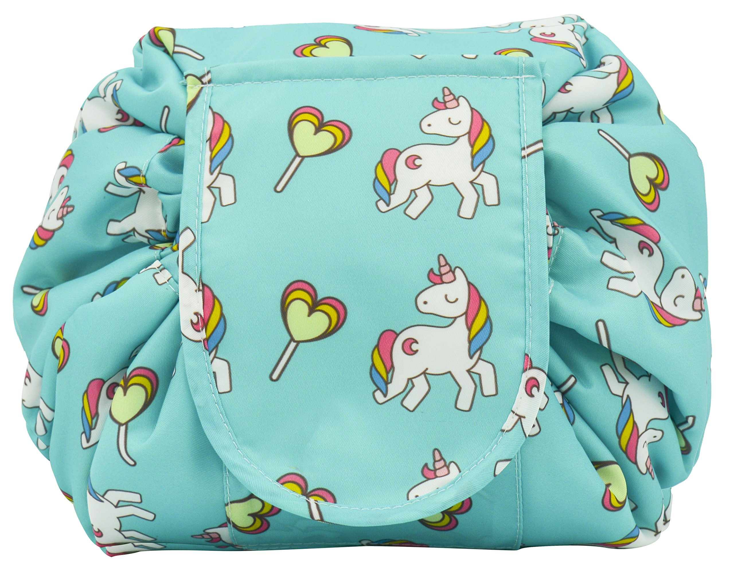 Portable Drawstring Cosmetic Bag Large Capacity Lazy Travel Makeup Pouch magic Toiletry Bag for Womens Girls (BlueUnicorn)