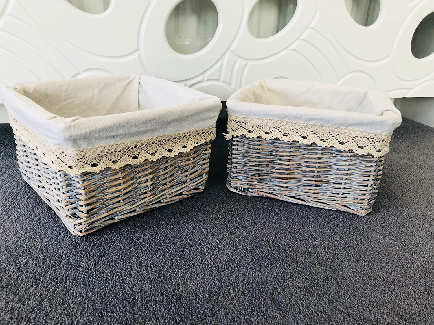 Home Delights 2x Small Grey Wicker Storage Baskets Bathroom Bedroom Cosmetics Shabby Chic