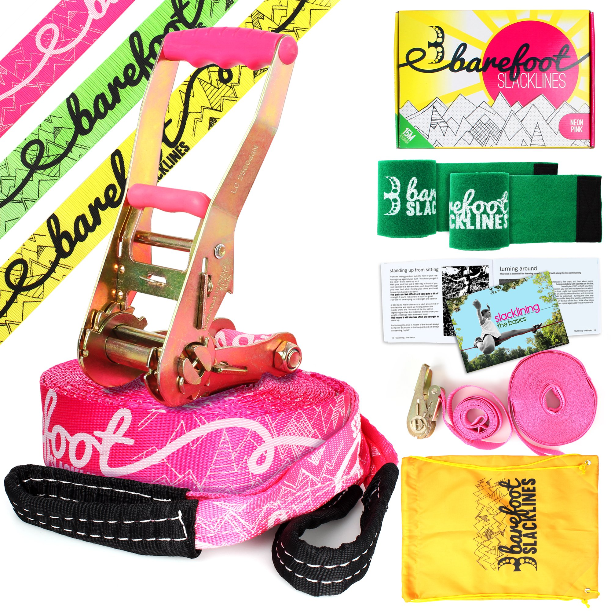 Barefoot Slacklines 49ft (15m) Line! Complete Set Including Slackline, Ratchet, Training Line, Bark Protectors & Instructions! Great for Kids and Family, 3 Fluro Colours Available (Fluro Pink) by Barefoot Slacklines