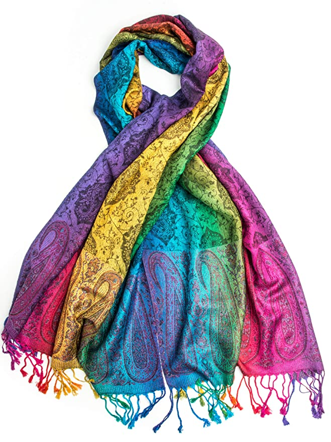 Vintage Scarves- New in the 1920s to 1960s Styles Iris Rainbow Pashmina Real Silk and Pashmina Indian Paisley Traditional Jacquard Brocade Scarf or Shawl  AT vintagedancer.com