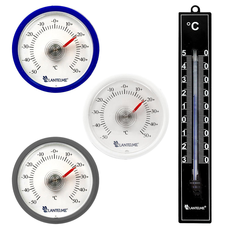 Lantelme 4057 3 piezas redondas bimetálico termómetro analógico refrigerador adhesivo en azul, blanco, plata. pantalla de temperatura termómetro frigorífico +/- 50 ° c