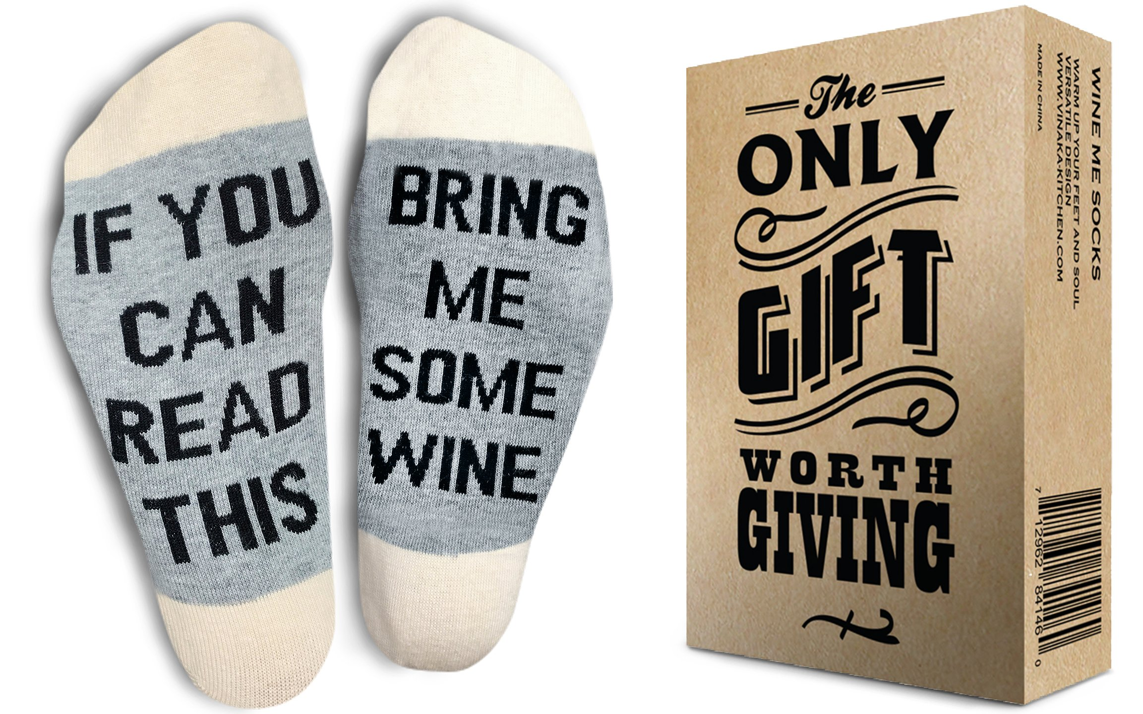 TheOnly Wine Gift Wine Socks - and Gift Box''If you can read this bring me some wine'' Perfect Christmas Gift for Wine Lovers, Birthdays, White Elephant, Mother Gift, Wife or Best Friend Wine Socks by The Only Gift Worth Giving (Image #2)