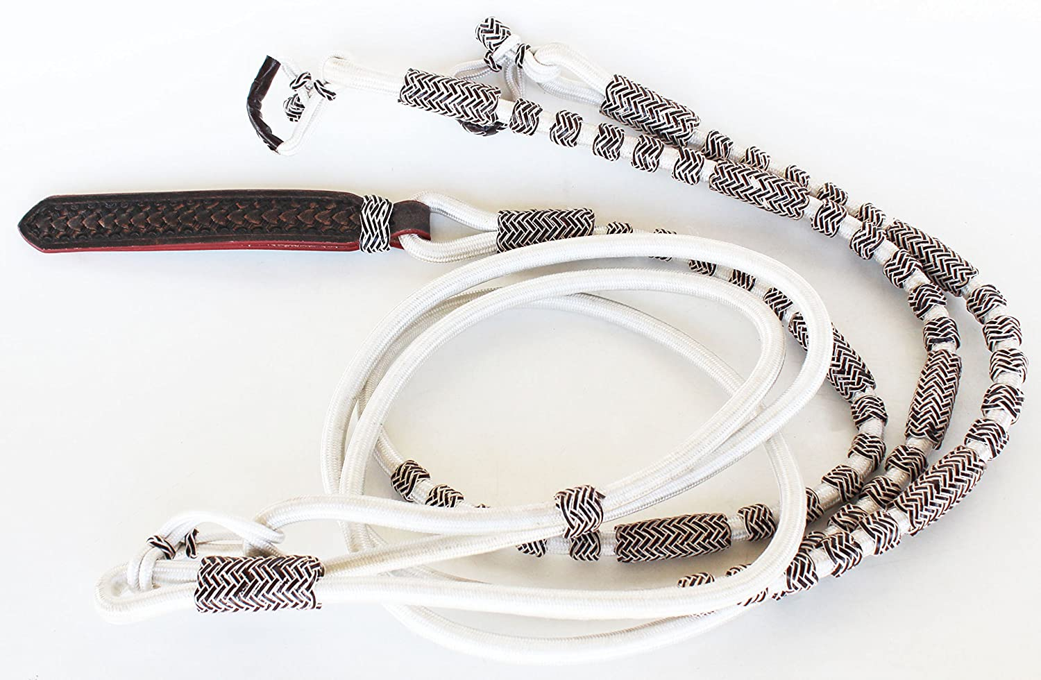 White Roping Knotted Horse Tack Western Barrel Reins 607 P
