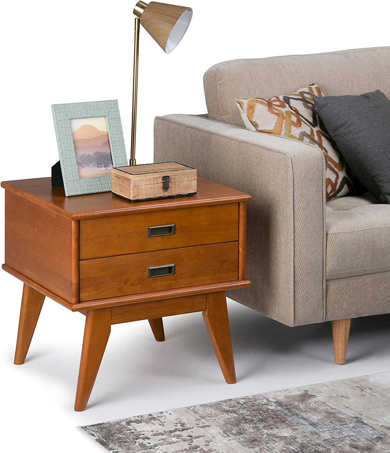 Simpli Home Draper Solid Hardwood 22 inch wide Rectangle Mid Century Modern End Side Table in Teak Brown with Storage, 2 Drawers, for the Living Room and Bedroom