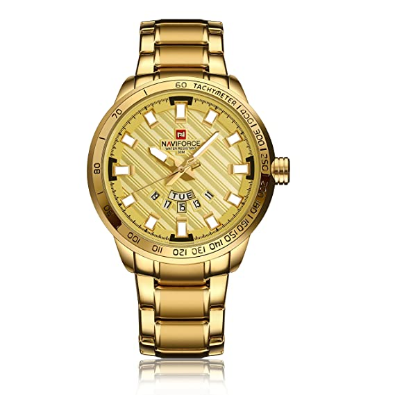 Amazon.com: NAVIFORCE Sport Fashion Stainless Steel Quartz Wrist Watch with Date Display for men (Gold): Watches
