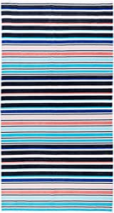 "Caro Home ""Stripes Collection"" Beach Towel - 100% Cotton Premium Quality X-Large 36"" x 68"" Thick and Plush Combed Cotton 440 GSM (Zoe Brite)"