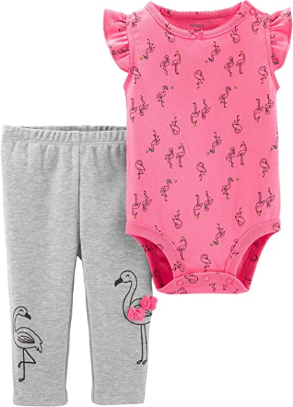 Carters Baby Girls 2-Piece Bodysuit /& Legging Set Blue//White//Pink Heart