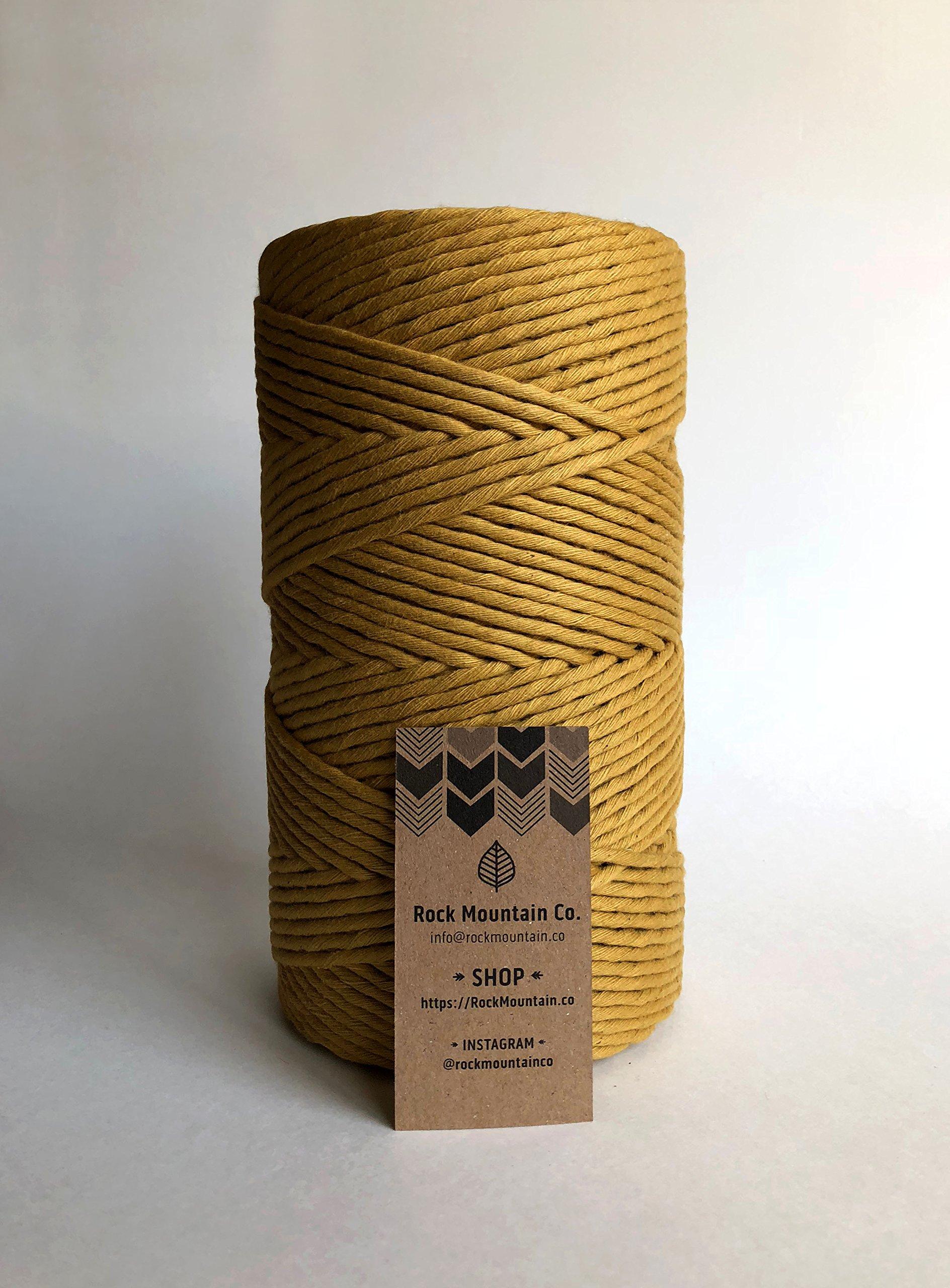 Gold Macrame Cord/4mm Single Strand Cotton Fiber Art Rope/Honey/Mustard/Marigold