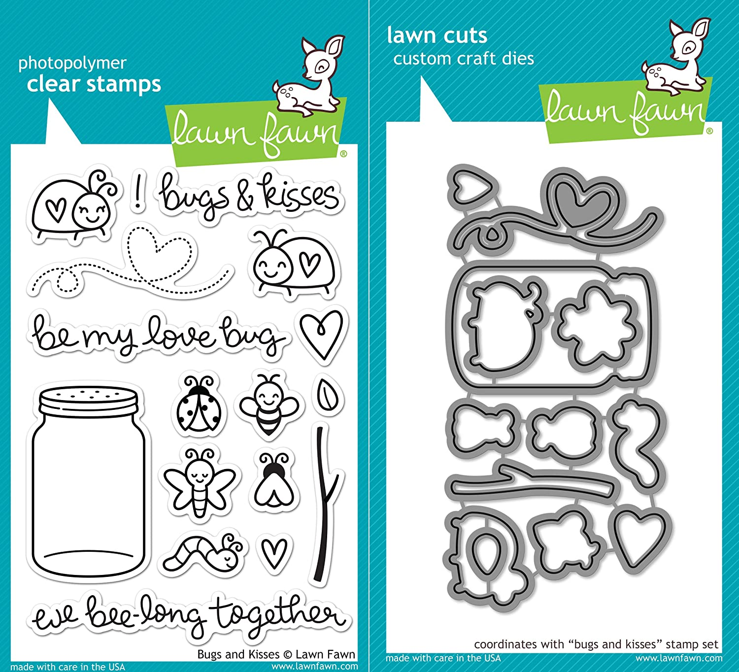 Lawn Fawn Bugs and Kisses Clear Photopolymer Stamps LF789 Bundle with Coordinating Lawn Cuts Dies LF790