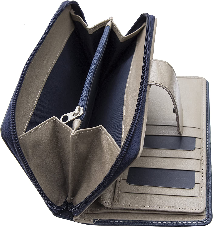 Prime hide celino rfid blocage rouge et taupe en cuir matinee purse new