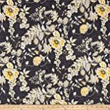 Telio Venice Stretch ITY Knit Floral Print Black Fabric By The Yard