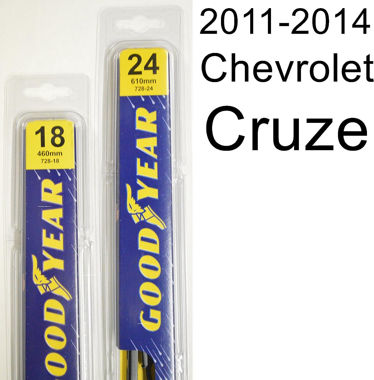 """Chevrolet Cruze (2011-2014) Wiper Blade Kit - Set Includes 24"""" (Driver Side), 18"""" (Passenger Side) (2 Blades Total)"""