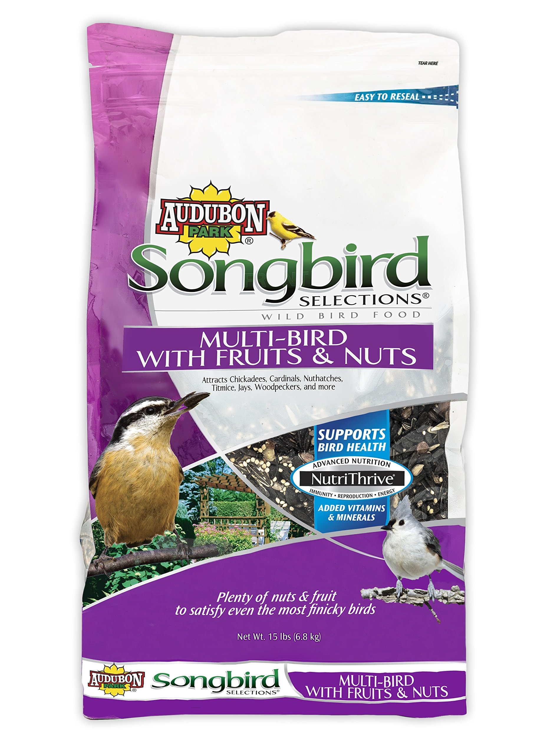 Audubon Park Songbird Selections 11980 Multi Wild Bird Food with Fruits and Nuts, 15 lb by Audubon Park Songbird Selections