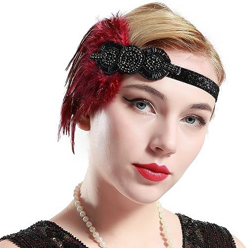 Babeyond Mujer Flapper Hair Band 1920 Headpiece Accesorios de pelo de plumas Vintage inspirado Diseñ...