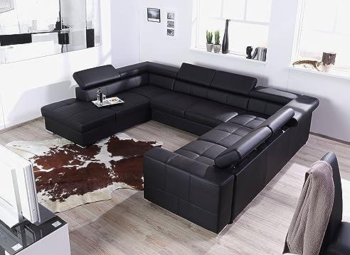 Charming XXL Wohnlandschaft, Couch U0026quot;CARYu0026quot;, U Form, Lederoptik Schwarz   Nice Design