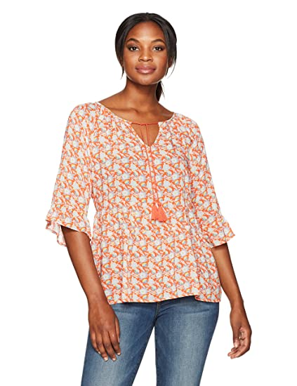 605dc676c1a97f Margaritaville Women s Minature Floral Peasant Blouse at Amazon ...