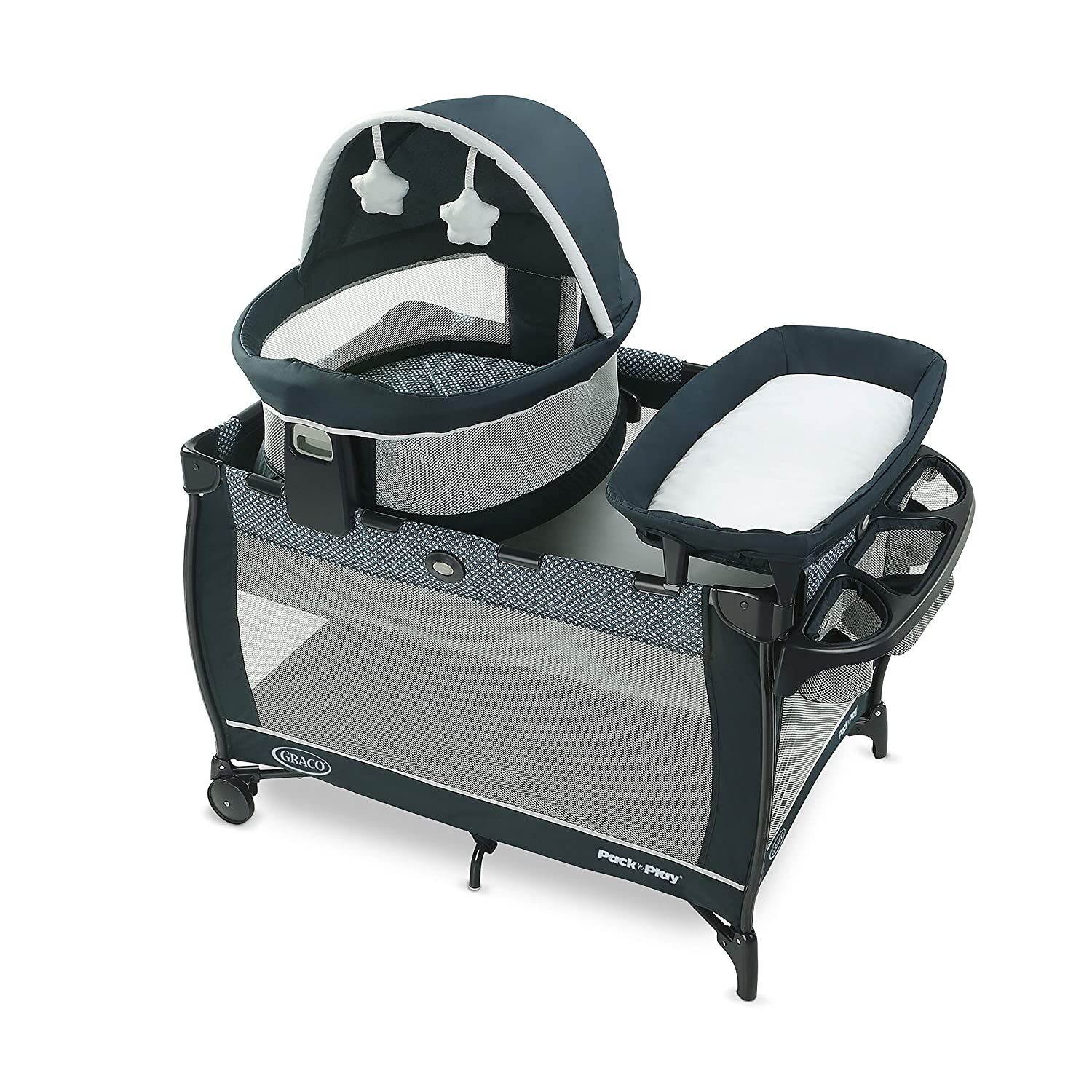 Graco Pack 'n Play Travel Dome LX Playard | Includes Portable Bassinet, Full-Size Infant Bassinet, and Diaper Changer, Leyton