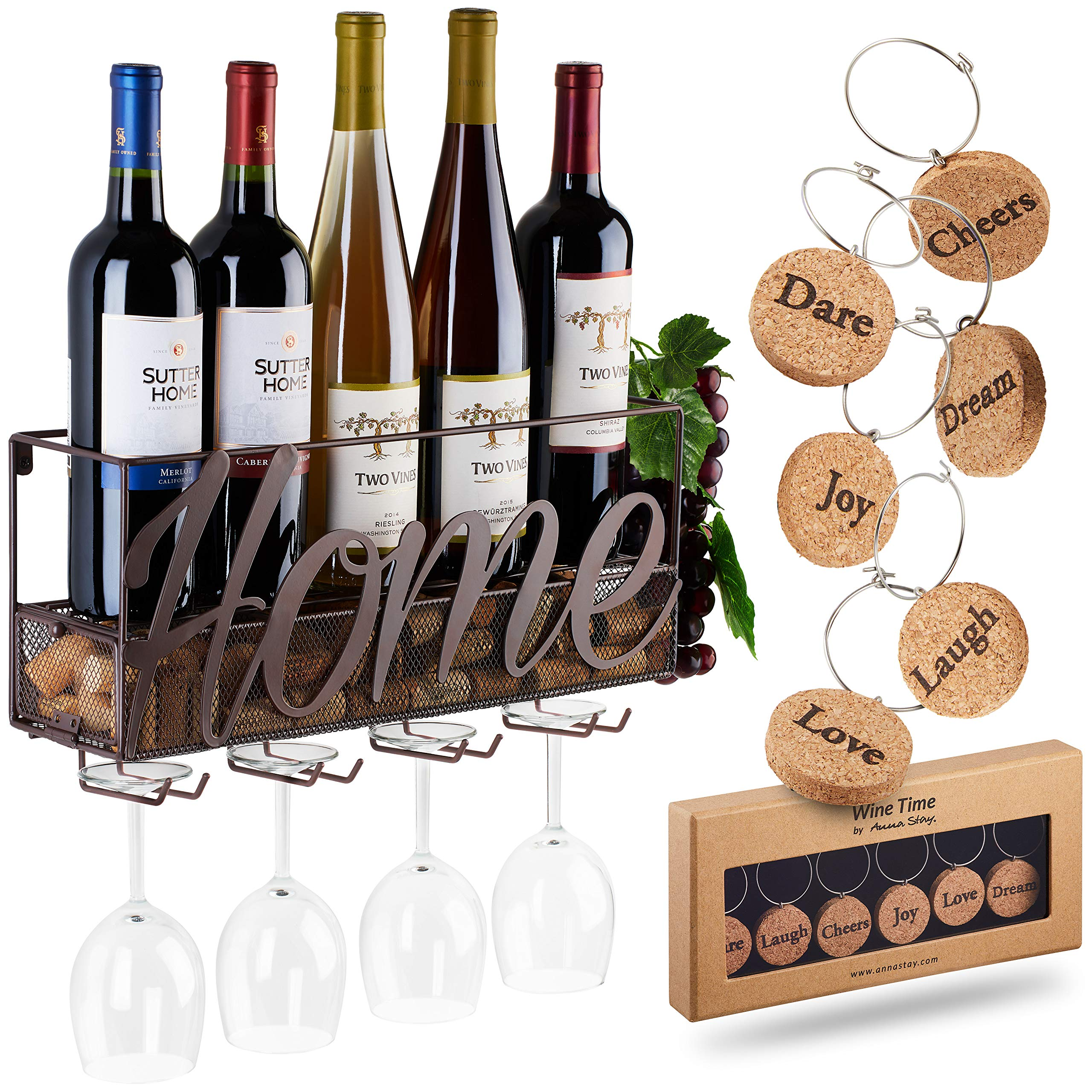 Wall Mounted Wine Rack - Bottle & Glass Holder - Cork Storage Store Red, White, Champagne - Come with 6 Cork Wine Charms - Home & Kitchen Décor - Storage Rack - Designed by Anna Stay,Home by TRIVETRUNNER -ANNA STAY