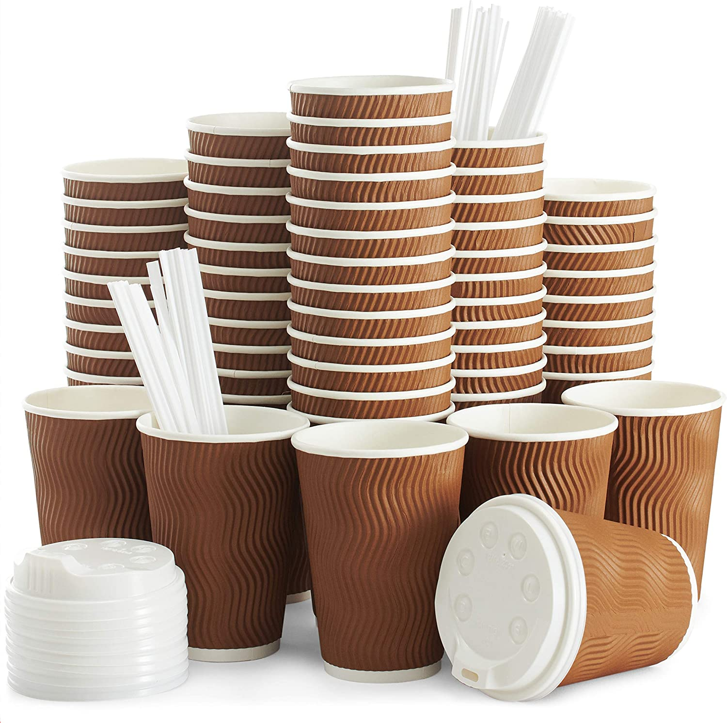 Insulated Disposable Coffee Cups with Lids & Straws 12 oz, 100 Packs - Paper Cups for Hot Beverage Drinks To Go Tea Coffee Home Office Car Coffee Shop Party (Brown)