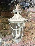E-X Laterne Hänge Windlicht Spitzendekor Metall Garten Deko Antik Grau Vintage