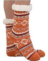 Snoozies Womens Sherpa Lined Knit Festive Winter Fleece Slipper Socks