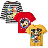 Disney Boys' Mickey 3 Pack T-Shirts with a Long Sleeve T-Shirt