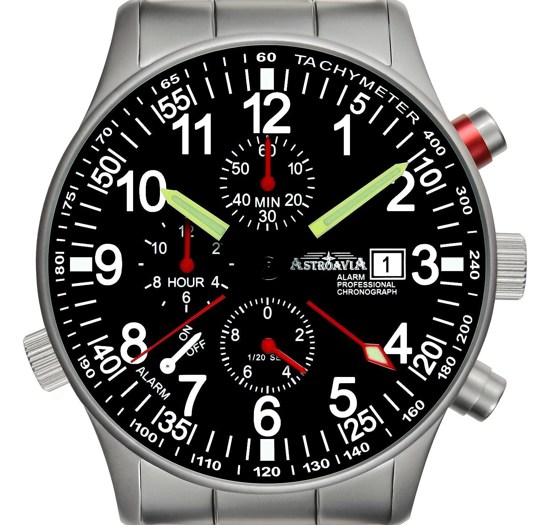 Astroavia Herren-Armbanduhr Alarm Chronograph Quarz Edelstahl R71S