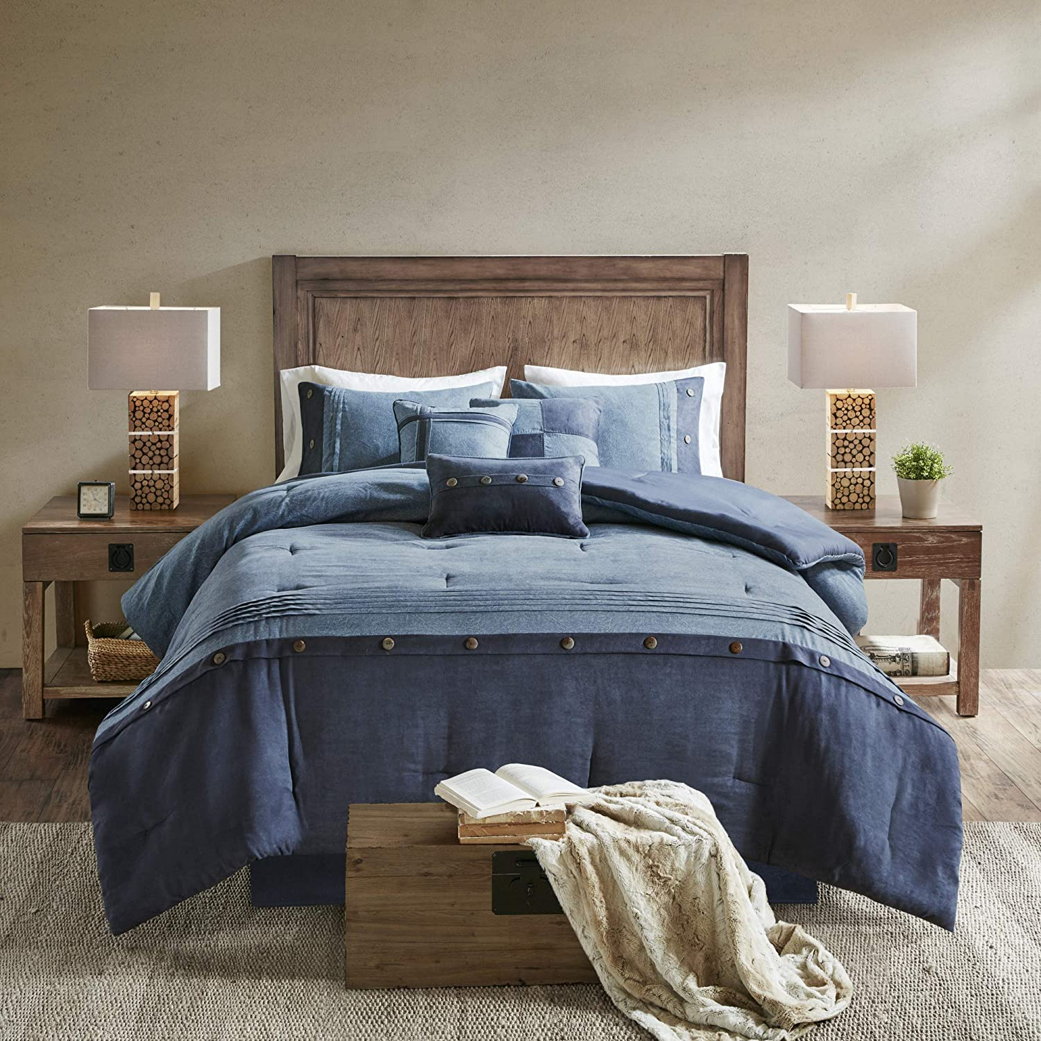Madison Park Boone Comforter Set-Rustic Cabin Lodge Faux Suede Design All Season Down Alternative Cozy Bedding with Matching Bedskirt, Shams, Decorative Pillow, Cal King(104