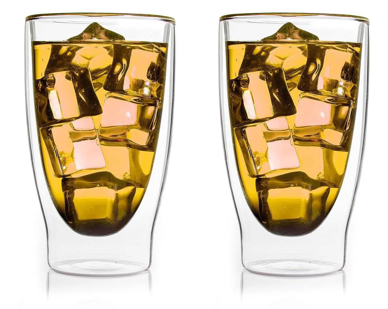 Juego de 2 vasos térmicos con efecto flotante. Mantiene la bebida fria o caliente mas tiempo.