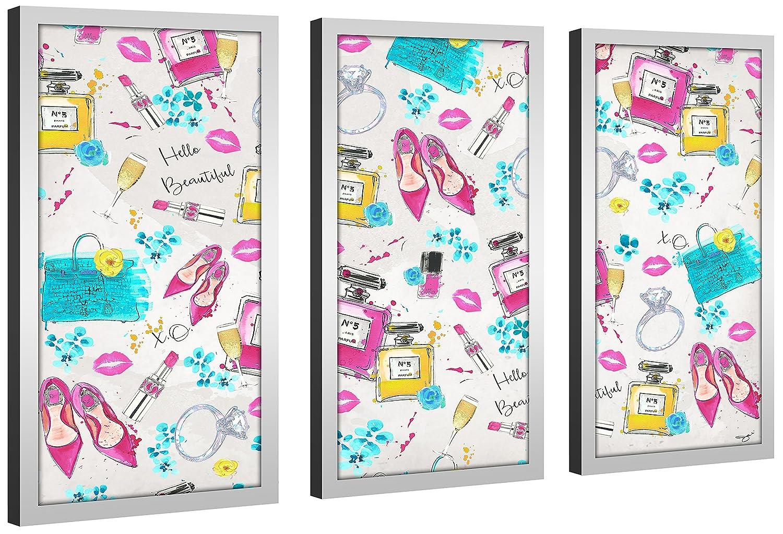 Picture Perfect International by Jodi Spring On My Mind 3 Framed Plexiglass Art Set of 3 Wall-Decor 13.5 W x 25.5 H x 1 D
