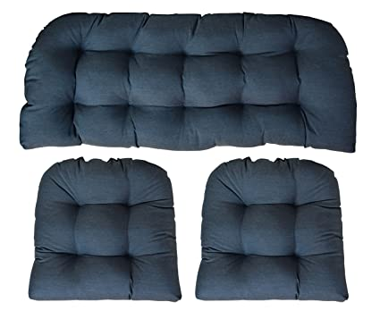 Groovy Rsh Decor Sunbrella Heritage Denim 3 Piece Wicker Cushion Set Indoor Outdoor Wicker Loveseat Settee 2 Matching Chair Cushions Blue Gmtry Best Dining Table And Chair Ideas Images Gmtryco